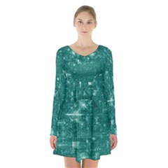 /r/place Emerald Long Sleeve Velvet V Neck Dress by rplace