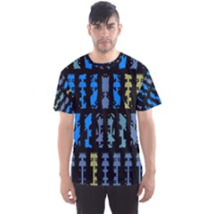 Blue Shapes On A Black Background        Men s Sport Mesh Tee by LalyLauraFLM
