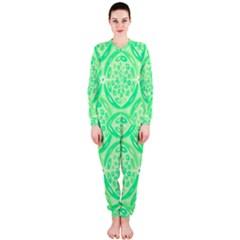 Kiwi Green Geometric Onepiece Jumpsuit (ladies)  by linceazul