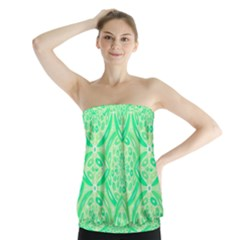 Kiwi Green Geometric Strapless Top by linceazul
