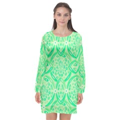 Kiwi Green Geometric Long Sleeve Chiffon Shift Dress  by linceazul