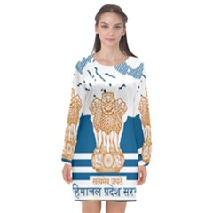 Seal Of Indian Sate Of Himachal Pradesh Long Sleeve Chiffon Shift Dress  by abbeyz71