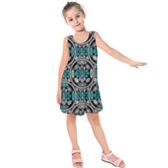 Geometric Arabesque Kids  Sleeveless Dress by linceazul
