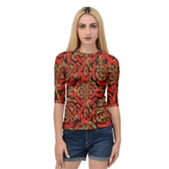 Red And Brown Pattern Quarter Sleeve Tee by linceazul