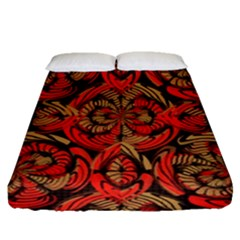 Red And Brown Pattern Fitted Sheet (queen Size) by linceazul