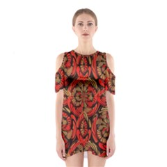 Red And Brown Pattern Shoulder Cutout One Piece by linceazul