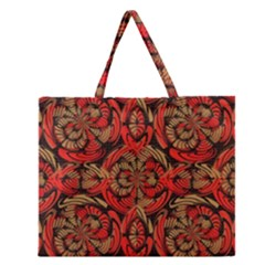 Red And Brown Pattern Zipper Large Tote Bag by linceazul