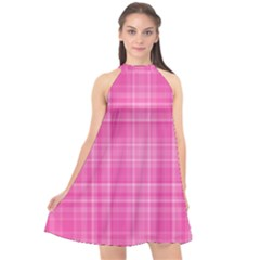 Plaid Design Halter Neckline Chiffon Dress
