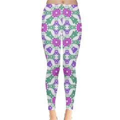 Multicolor Ornate Check Leggings  by dflcprints