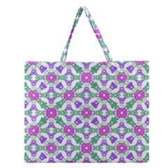 Multicolor Ornate Check Zipper Large Tote Bag by dflcprints