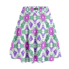 Multicolor Ornate Check High Waist Skirt by dflcprints