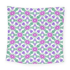 Multicolor Ornate Check Square Tapestry (large) by dflcprints