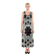 Wood In The Soft Fire Galaxy Pop Art Sleeveless Maxi Dress by pepitasart