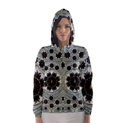 Wood In The Soft Fire Galaxy Pop Art Hooded Wind Breaker (women) by pepitasart