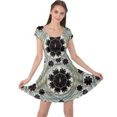 Wood In The Soft Fire Galaxy Pop Art Cap Sleeve Dresses by pepitasart