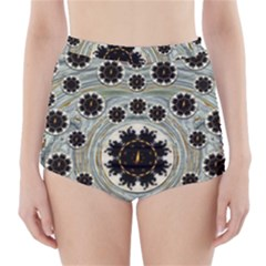Wood In The Soft Fire Galaxy Pop Art High Waisted Bikini Bottoms by pepitasart