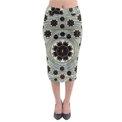 Wood In The Soft Fire Galaxy Pop Art Midi Pencil Skirt by pepitasart