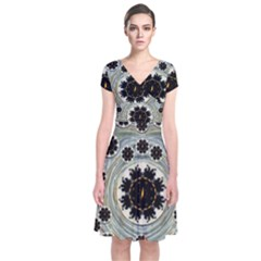 Wood In The Soft Fire Galaxy Pop Art Short Sleeve Front Wrap Dress by pepitasart
