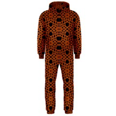 Triangle Knot Orange And Black Fabric Hooded Jumpsuit (Men)