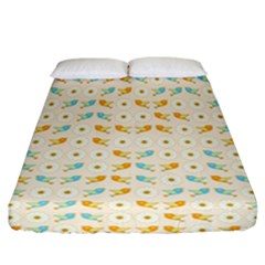 Birds And Daisies Fitted Sheet (california King Size) by linceazul