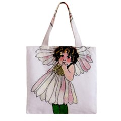 Daisy Vintage Flower Child Cute Funny Floral Little Girl Zipper Grocery Tote Bag by yoursparklingshop