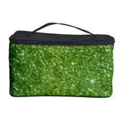 Green Glitter Abstract Texture Cosmetic Storage Case by dflcprints