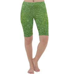 Green Glitter Abstract Texture Print Cropped Leggings  by dflcprintsclothing