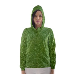 Green Glitter Abstract Texture Print Hooded Wind Breaker (women) by dflcprintsclothing