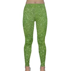 Green Glitter Abstract Texture Print Classic Yoga Leggings by dflcprintsclothing