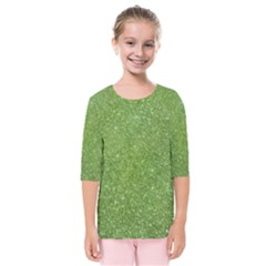 Green Glitter Abstract Texture Print Kids  Quarter Sleeve Raglan Tee