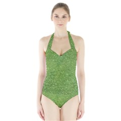 Green Glitter Abstract Texture Print Halter Swimsuit by dflcprintsclothing