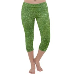 Green Glitter Abstract Texture Print Capri Yoga Leggings by dflcprintsclothing