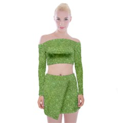 Green Glitter Abstract Texture Print Off Shoulder Top With Skirt Set