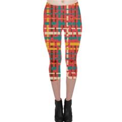 Colorful Line Segments Capri Leggings  by linceazul