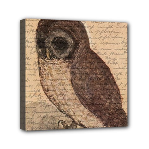 Vintage Owl Mini Canvas 6  X 6  by Valentinaart