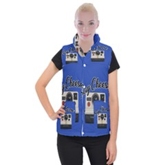 Say Cheese Women s Button Up Puffer Vest by Valentinaart