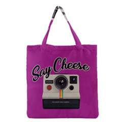 Say Cheese Grocery Tote Bag by Valentinaart