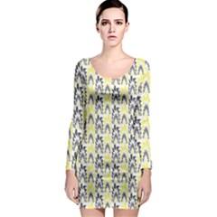 Tricolored Geometric Pattern Long Sleeve Bodycon Dress by linceazul