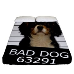 Bad Dog Fitted Sheet (queen Size) by Valentinaart