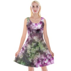 Purple Green Paint Texture               Reversible Velvet Sleeveless Dress by LalyLauraFLM