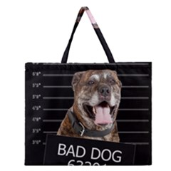 Bad Dog Zipper Large Tote Bag by Valentinaart