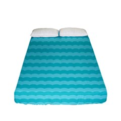 Abstract Blue Waves Pattern Fitted Sheet (full/ Double Size) by TastefulDesigns
