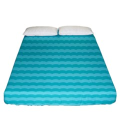 Abstract Blue Waves Pattern Fitted Sheet (king Size) by TastefulDesigns