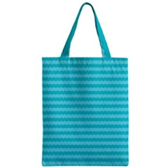 Abstract Blue Waves Pattern Zipper Classic Tote Bag by TastefulDesigns