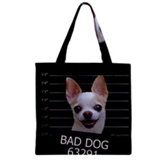 Bad Dog Zipper Grocery Tote Bag by Valentinaart
