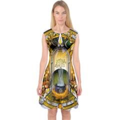 Samhain Sabbat Pentacle Capsleeve Midi Dress by NaumaddicArts