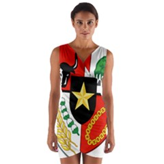 Shield Of National Emblem Of Indonesia  Wrap Front Bodycon Dress