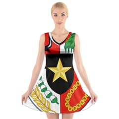 Shield Of National Emblem Of Indonesia  V Neck Sleeveless Skater Dress by abbeyz71