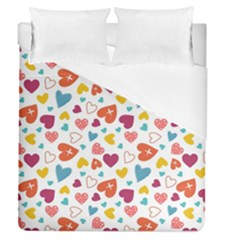 Colorful Bright Hearts Pattern Duvet Cover (queen Size) by TastefulDesigns