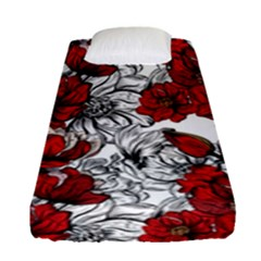 Hand Drawn Red Flowers Pattern Fitted Sheet (single Size) by TastefulDesigns